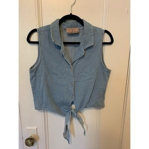 Cropped Jean Tie Top